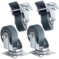 Kabalo Conjunto de 4 x Giratorio de Alta Resistencia GRIS CAUCHO 50 mm (2 pulgadas) Castor / Ruedas de Fundición (2 x estándar, 2 x freno), 40 kg Capacidad de carga por rueda [Set of 4 x Swivel Heavy Duty GREY RUBBER 50mm (2 inch) Castor / Caster Wheels (2 x standard, 2 x brake), Load capacity 40kg per wheel]