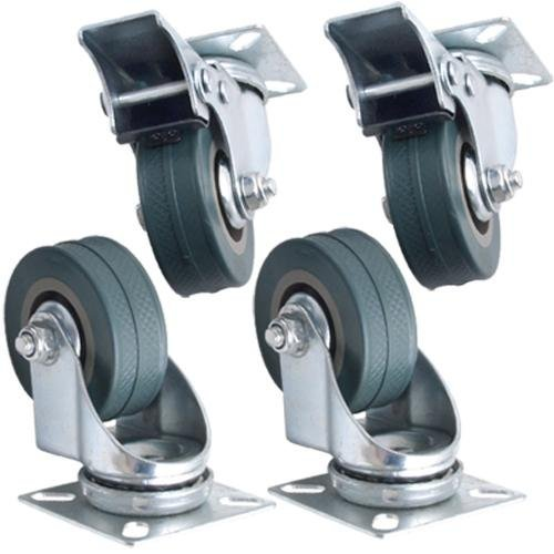 Kabalo Set von 4 x Swivel Heavy Duty GREY RUBBER 50 mm (2 Zoll) Castor / Laufräder (2 x Standard, 2 x Bremse), Tragkraft 40 kg pro Rad [Set of 4 x Swivel Heavy Duty GREY RUBBER 50mm (2 inch) Castor / Caster Wheels (2 x standard, 2 x brake), Load capacity 40kg per wheel] - Caster Swivel