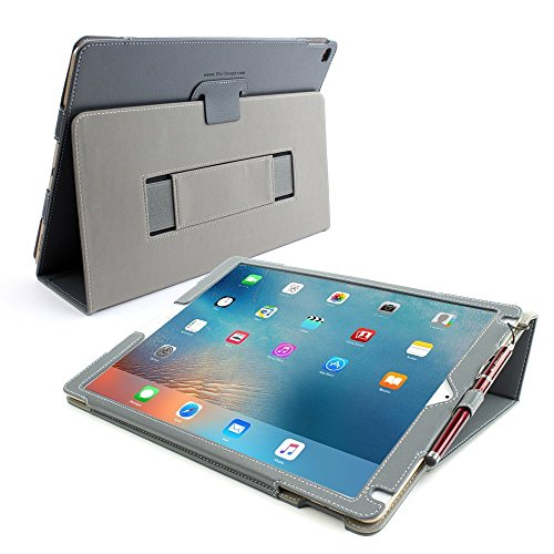 Snugg iPad Pro 12.9 2015 Hülle Grau, Leder iPad Pro 12.9 2015 Schutz Klapphülle Case Cover Ständer für Apple iPad Pro 12.9 2015