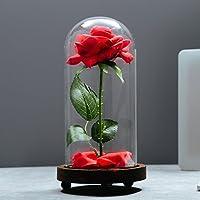 """'""""beauty and the Beast"""" stile seta rosa con petali caduti, in una cupola di vetro, su una base di legno. Le cupole sono in vetro. Questo è un unico blocco, il bicchiere non si stacca la rosa. La base è in legno e la cupola che ricopre la rosa..."""