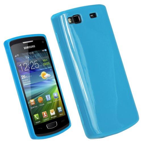 igadgitz Blau Glanz Dauerhafte Kristall Gel Skin TPU Tasche Schutz Hülle für Samsung Wave 3 S8600 Bada 2.0 Smartphone Handy + Display Schutzfolie
