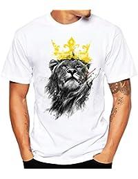 Camicetta Uomo Moda sportivo Rcool Leone stampa Maglietta Maglia Manica corta, Top T shirt Camicia