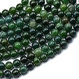 8 Mm Naturaleza Musgo Verde ágata Piedras Preciosas Sueltas Espaciador Perlas 15 ''...