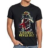 Legends Never Die - Luffy Herren T-Shirt, Größe:XXXL;Farbe:Schwarz