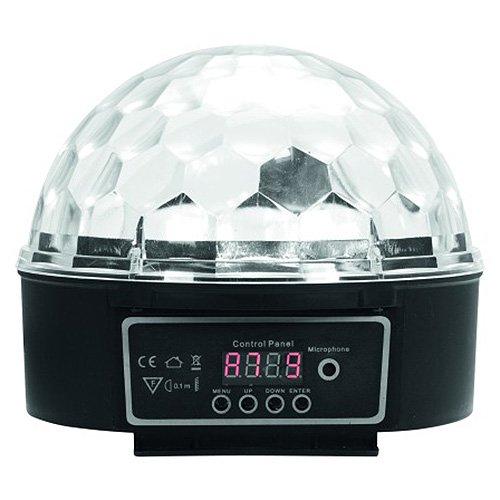 Eurolite LED BC-6 Strahleneffekt | Kompakter Spiegelkugel-Effekt mit leuchtenden Plexiglaskugel & DMX | Musiksteuerung über eingebautes Mikrofon