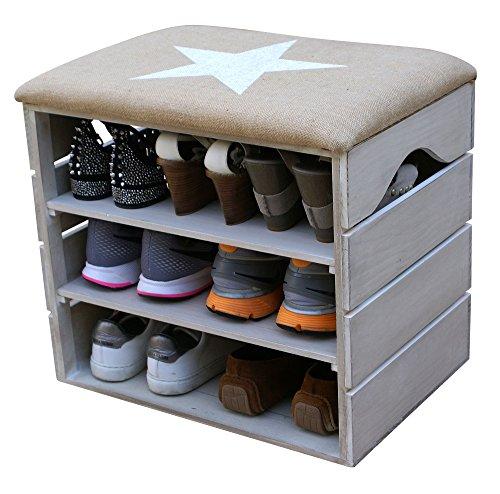 LIZA LINE MEUBLE CHAUSSURES (BLANC VIEILLI), BANC de RANGEMENT pour Chaussures avec ÉTAGÈRES. Assise Confortable en Tissu. Bois Massif Scandinave - 51 x 45 x 36 cm (Étoile Blanche)