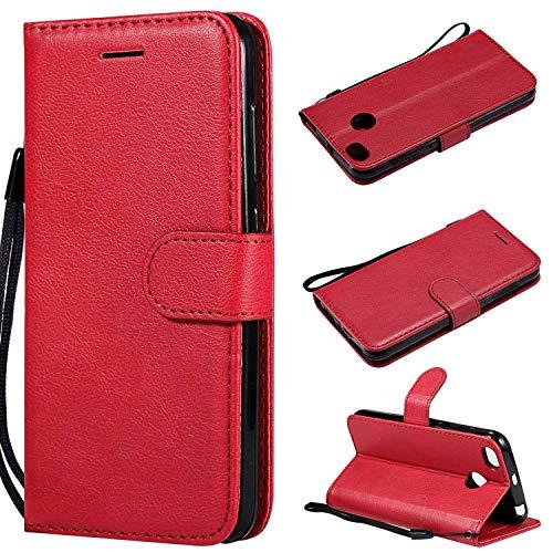 Funda para Xiaomi RedMi Note 4X/4 Silicona,Xiaomi RedMi Note 4X/4 Carcasa Libro de Cuero con Tapa de Holster PU y Silicona Elegante,Ranuras de Tarjetas y Billetera Case Flip Cover(Rojo)