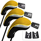 Andux Golf Driver Wood Head Covers Interchangeable No. Tag 3 of Set (Black/yellow)