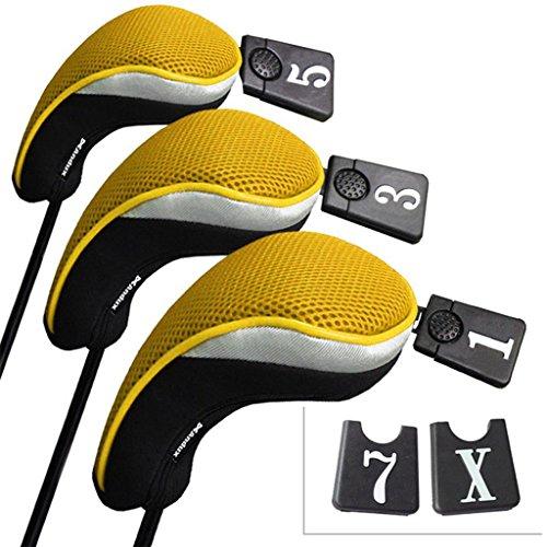 Andux 3 Packung golf holz Schlägerkopfhüllen Eisen hauben austauschbar Nr. Etikett MT/mg07 schwarz/gelb