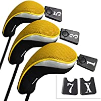 Andux funda de palo de golf para drivers maderas con intercambiable No. etiqueta set de 3 MT/mg07 negro/amarillo