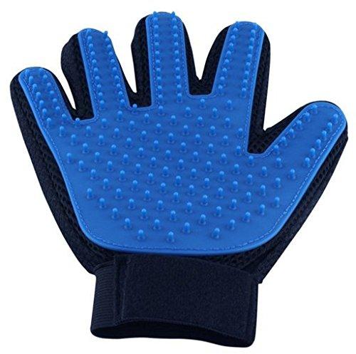 Myhonour Fellpflegehandschuh Haustier Bürsten Handschuh zur sanften und Einfachen Entfernung Loser Tierhaare Wie Eine Massage für Hund und Katze (Blau)