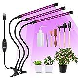 3-Kopf Pflanzenlampe mit zeitschaltuhr mit 7 Werkzeuge Automatische EIN-/Ausschalten 3/9/12H Timer 8 Helligkeit 360 °Lenkung Pflanzenlicht Led UV Lampe Wachsen licht Pflanzenleuchte Wachstumslampe