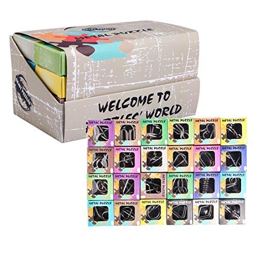 Seciie Knobelspiele Set, 24Stk. 3D Puzzle IQ Spiele Geduldspiele Logikspiele Denkspiel Knifflige Spiele Brainteaser Spiele für Kinder und Erwachsene