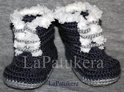 Bootees PIRINEO. Wolle, Babyschuhe häkeln, Unisex. Stil, Bootie Pirineo. Farbe blau, aus Wolle, 4 Größen 0-9 Monate. handgefertigt in Spanien. Turnschuh gehäkelt gestrickt, Geschenk fürs Baby (Baby Neugeborenen Booties Gehäkelte)