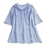 Baiomawzh Vestidos Mujer de Camiseta Suelto Casual Media manga Capucha Cordón TartánCuello Redondo Ocasional Sólida Mini Vestido Tops(XXXXL,Azul)