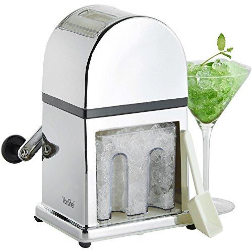 VonShef Broyeur à glace / Machine à glace pilée manuelle avec bac à glaçons et 1 cuillère - capacité : 900ml