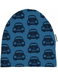 MAXOMORRA Jungen Mütze Langarm Blau Beanie Auto Car BioBaumwolle Gots