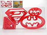 Super Hero Set von 4Superman/Batman Logo geformte Kekse, Gebäck, Cookie Cutter, Fondant Cutter in Geschenkbox