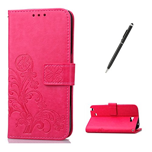 Feeltech for Samsung Galaxy Note 2 PU Leder Hülle- Klee-Rosa