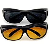 Bigbro Goggles for Day & Night Anti-Glare Polarized Sunglasses Hd Vision Men/Women Driving Glasses Sun Glasses Uv Protection Car and Bike Drivers Pack of 2