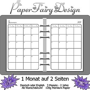 Kalendereinlagen 2020 - Personal Wide (12cm x 17,1cm) - 1 Monat auf 2 Seiten - 120g Premium Papier