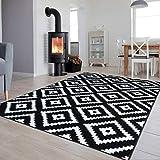 Tapiso Luxury Teppich Kurzflor Schwarz Weiss Modern Geometrisch Marokkanisch Gitter Karo Viereck Muster Wohnzimmer ÖKOTEX 160 x 220 cm