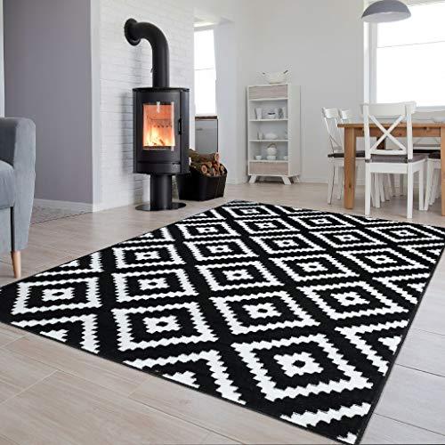 Tapiso Luxury Teppich Kurzflor Schwarz Weiss Modern Geometrisch Marokkanisch Gitter Karo Viereck Muster Wohnzimmer ÖKOTEX 120 x 170 cm