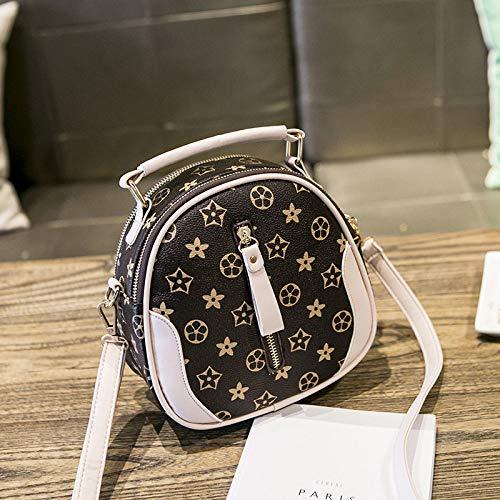 Ldyia Tasche Frau Tasche drucken Umhängetasche drucken alte Blume Schulter runde Tasche kleine runde Tasche, beige