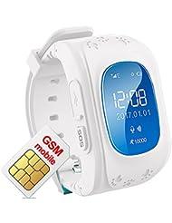 Kinder Armband Uhr Smartwatch GPS Tracker Verlorene Finder Kinder gps Kind Locator Niedrigere Strahlung Echtzeit Standortverfolgung Kinder Smart Uhr Q50 Weiß