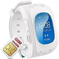 Hangang Reloj de rastreador GPS para niños, Resistente al Agua, Reloj Inteligente, antirroaming, Llamadas SOS, buscador de niños, Seguimiento en Tiempo Real, Compatible con Smartphones