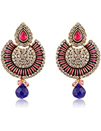 The Luxor Gold Plated Blue And Pink Fancy Friction Back Earrings For Women