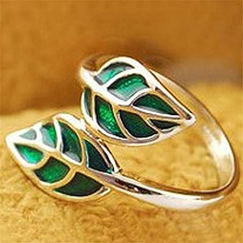 Carino argento stile coreano Wrone (TM) Nuovo modo caldo doppio Verde Foglia Anello 31 agosto