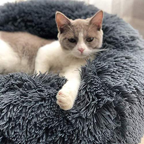 vxcbndtjd Deluxe Fluffy Pet Bed Runde oder ovale Donut Nesting Cave Bed Haustier Katze Bett für Katzen und kleine Hunde (50 cm Durchmesser, Dunkelgrau) -