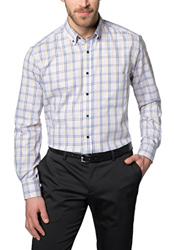 Eterna long sleeve Shirt MODERN FIT Twill checked lilla/blu/giallo