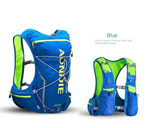 Imagen de aonijie 10l ligero resistente al agua  de esquí  de running marathon ciclismo bolsas running chaleco eléctrica bolsa de deporte + 2l hidratación bolsa de agua azul m/l  alternativa