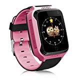 TOP-MAX Kids Smart Watch with GPS Tracker for Children Girls Boys with Camera SIM Calls Anti-lost SOS Pedometer Smartwatch Bracelet for iPhone Android Smartphone (Pink)