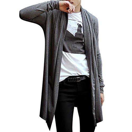 West See Männer Strickjacke Open Lang Cardigan Jacke Hoodie Sweatshirt Mantel Freizeit Grau