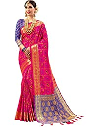 EthnicJunction Double Ikat Vibrant Patola Woven Art Silk Saree With Unstitched Heavy Designer Woven Silk Blouse Piece