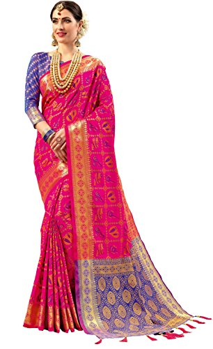EthnicJunction Silk with Blouse Piece Saree (EJ1175-1006R_Pink_Freesize)