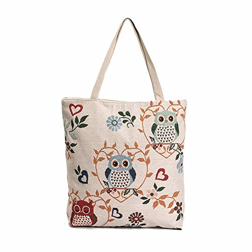 Koly_Owl Printed Canvas Tote Borse (D)
