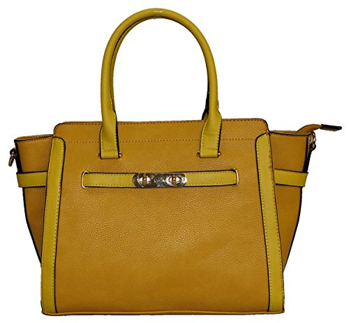 Kukubird Cadenza In Ecopelle Con Chiusura In Metallo Dettaglio Design Top-manico Spalla Tote Handbag Yellow