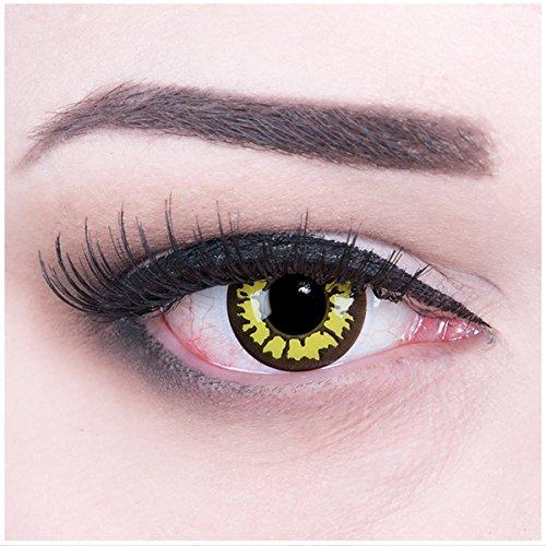 ktlinsen, Yellow Wolf mit Pflegemittel ohne Stärke, 1er Pack (1 x 2 Stück) (Wolf Kontaktlinsen)
