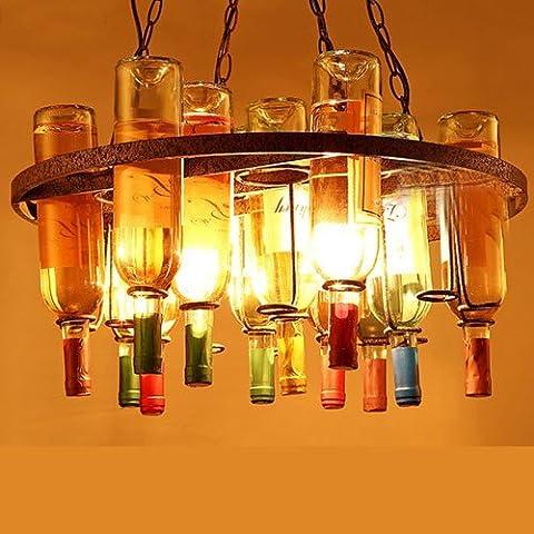 FTTE Estilo Loft Con Salón Lámpara Candelabro Creativo Restaurante Bar Cafetería Decorada Botella Candelabro De Hierro Forjado,Ronda