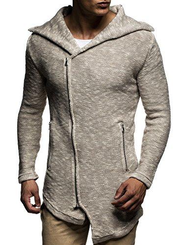 LEIF NELSON Herren Strickjacke Pullover Hoodie Jacke Sweatjacke Winterjacke Pulli Zipper LN20715 Beige