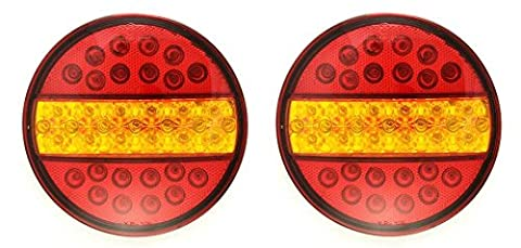 YP108 Lot De 2 Feux Stop LED Ronds 12 V