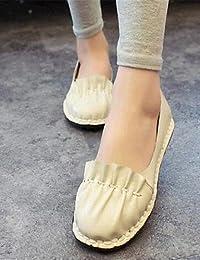 ZQ YYZ Zapatos de mujer-Tac¨®n Plano-Comfort-Planos-Exterior / Casual-Semicuero-Negro / Blanco , white-us8 / eu39...