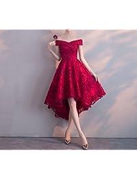 HDJJKSH sposa rossa della spalla di modo dei vestiti del pane tostato della  sposa abbottona breve prima la… EUR 105 5cf811f3224
