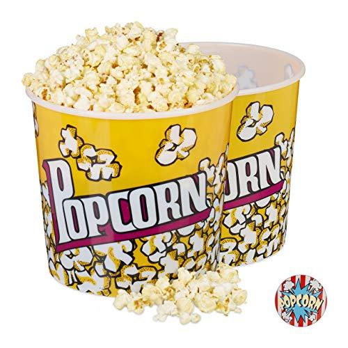 Relaxdays Popcorn Eimer 2er Set, XXL Popcorn Bowl für DVD-Abend oder Party, ca. 10 L, Ø 24cm, wiederverwendbar, gelb