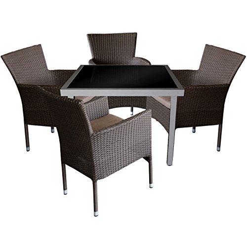 5tlg. Gartengarnitur Aluminium Glastisch 90x90cm mit schwarzer Tischglasplatte + Rattansessel, stapelbar, Polyrattanbespannung, braun-meliert inkl. Sitzkissen