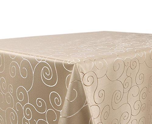 Tischdecke Ornamente Kreise Motiv, Damast Stoff bügelfrei, Größe und Farbe wählbar, Cappuccino Eckig 110x140 cm, Beautex